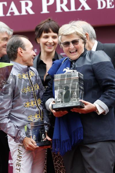 Treve ridden by Thierry Jarnet wins the Prix de L'Arc de Triomphe in Paris, France 10/5/2014.. Trained by Criquette Head