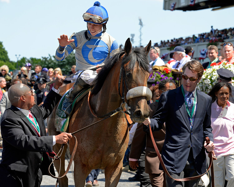 Caption: High five during walkin to winner circle. Sweet Reason with Irad Ortiz Jr. wins the TVG Acorn.<br /> Belmont Stakes day on June 7, 2014, at Belmont Park in Elmont, N.Y.<br /> 6-Acorn1 image582<br /> Photo by Anne M. Eberhardt