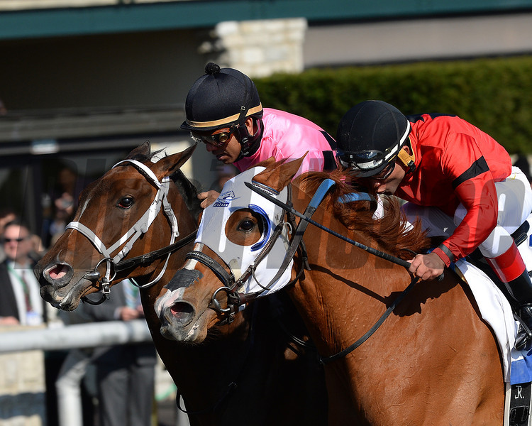 Keeneland Spring 2014; Lexington; KY; photo by Mathea Kelley, Room Service, Shaun Bridgmohan up dead heats with Rosalind, Joel Rosario up in the 2014 Ashland Stakes 4/5/14