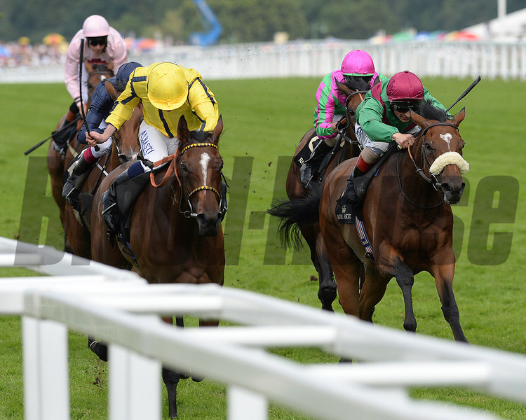 Rizeena, Ryan Moore up wins the Coronoation Stakes, Royal Ascot, Ascot Race Course, England, 6/20/14 photo by Mathea Kelley