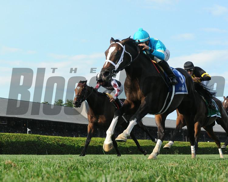 Wallyanna wins the 2014 National Museum of Racing Hall of Fame Stakes at Saratoga.<br /> Coglianese Photos/Adam Mooshian