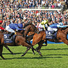 French-trained filly Miss France, showing marked improvement from her prep race last month, held off fast-finishing Lightning Thunder to narrowly win the QIPCO One Thousand Guineas (Eng-I) at Newmarket in England. <br /> Photo by: Trevor Jones