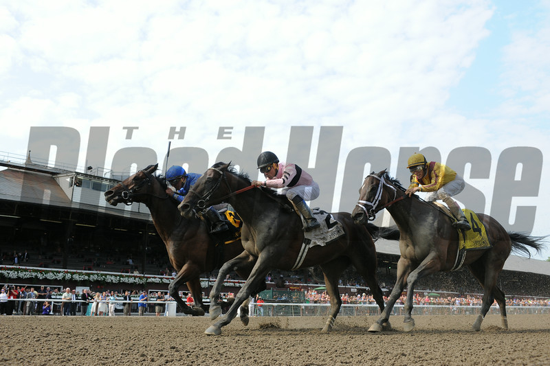 Better Lucky wins the Shine Again Stakes 7/21/2014.<br /> Coglianese Photos/Adam Mooshian