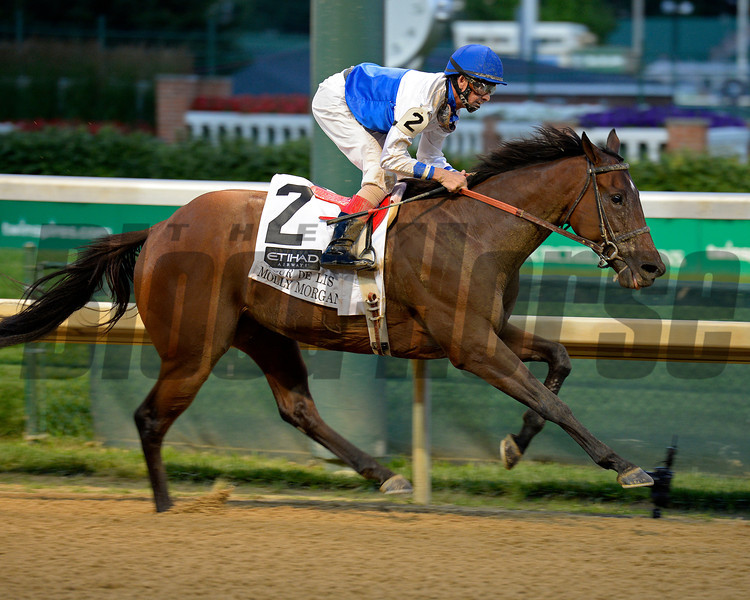 Caption:<br /> Molly Morgan with Corey Lanerie wins the Fleur de Lis Handicap (gr. III)  at Churchill Downs on June 14, 2014. image 455<br /> Photo by Anne M. Eberhardt