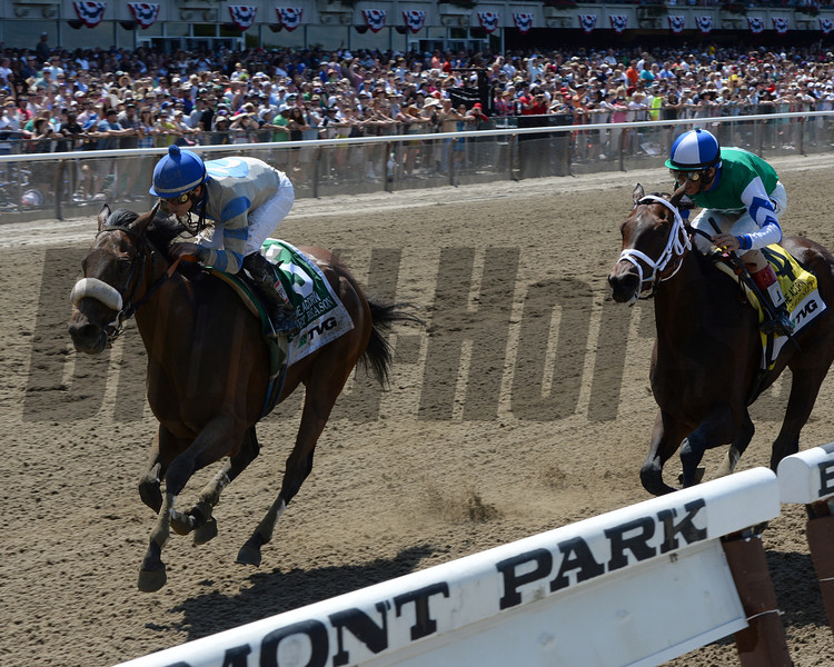 Sweet Reason wins the 2014 TVG Acorn Stakes.<br /> Coglianese Photos