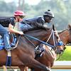 Jockey Flavien Prat working the Henry Dominguez trained PAIN AND MISERY at Santa Anita 06.27.15. Photo by Helen Solomon