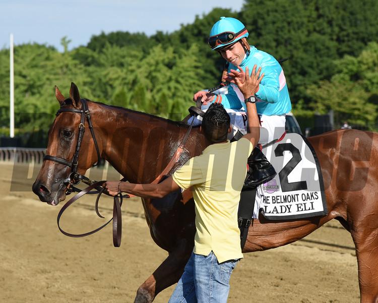 Lady Eli wins the 2015 Belmont Oaks.<br /> Coglianese Photos/Nicole Digiovanni