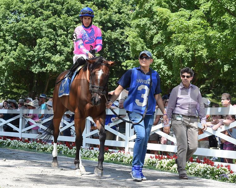 La Verdad wins the Honorable Miss Stakes at Saratoga July 29, 2015.<br /> Coglianese Photo/Susie Raisher