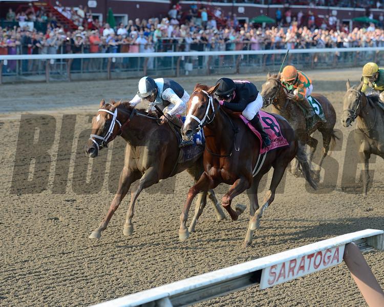 Curalina wins the CCA Oaks at Saratoga July 26, 2015.<br /> Coglianese Photos/Chelsea Durand