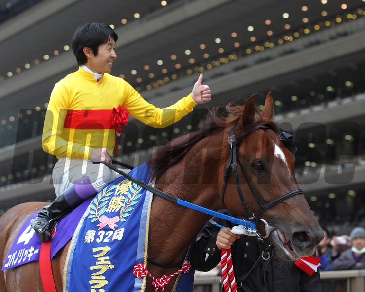 Copano Rickey wins the February Stakes in Japan Feb. 22, 2015. <br /> Photo by Masakazu Takahashi