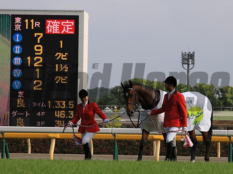 Clarity Sky wins Japan's NHK Mile Cup May 10, 2015.<br /> Naoji Inada Photo