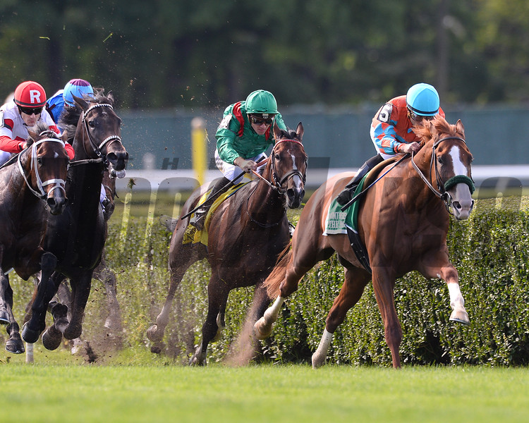 Force the Pass wins the 2015 Belmont Derby Invitational.<br /> Coglianese Photos/Joe Labozzetta