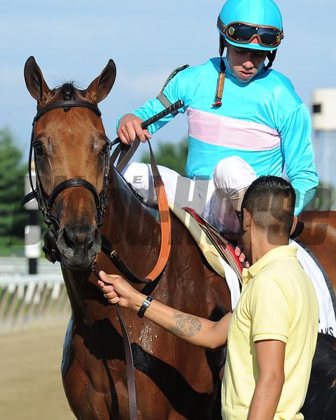 Lady Eli wins the 2015 Belmont Oaks.<br /> Coglianese Photos/Adam Mooshian
