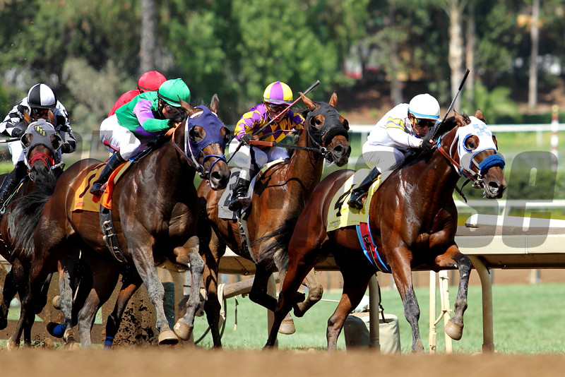 CAL-BRED MAIDEN CLAIMING for two-year-olds (race#1) at Santa Anita 09.26.15. Photo: Helen Solomon