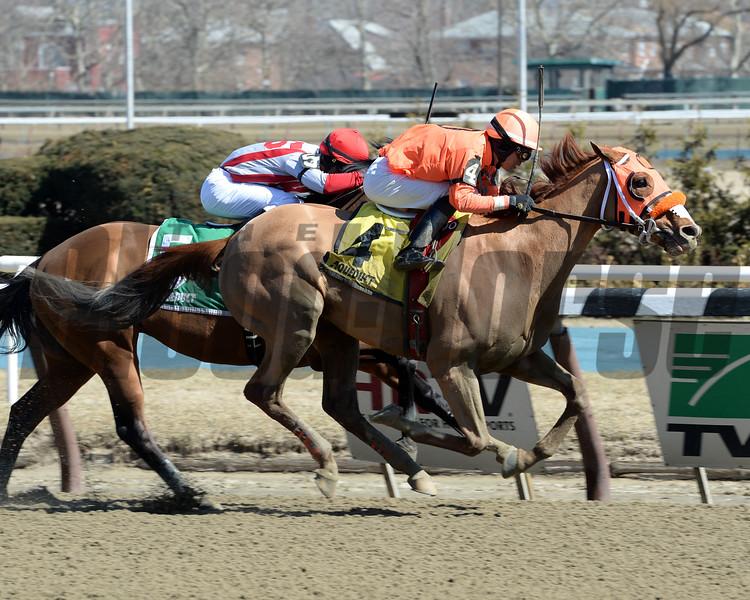 Turco Bravo wins the Stymie Stakes March 22.<br /> Coglianese Photos