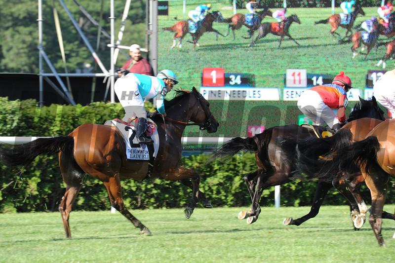 Lady Eli wins the 2015 Belmont Oaks.<br /> Coglianese Photos/Susie Raisher