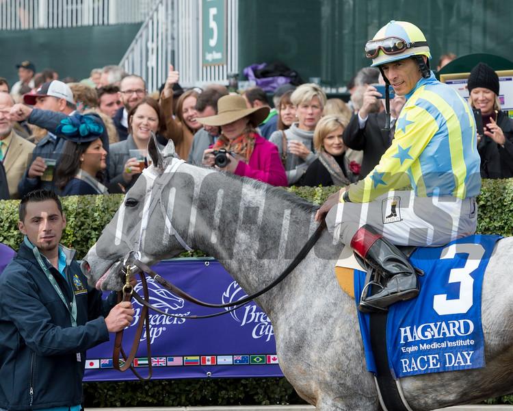 Caption:Race Day with Jockey John Velazquez wins<br /> Hagyard Fayette at Keeneland on Oct. 30, 2015.