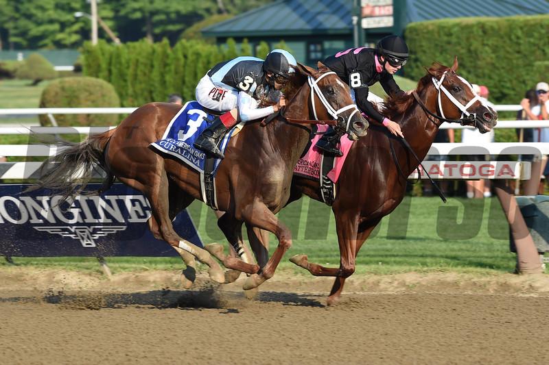 Curalina wins the CCA Oaks at Saratoga July 26, 2015.<br /> Coglianese Photos