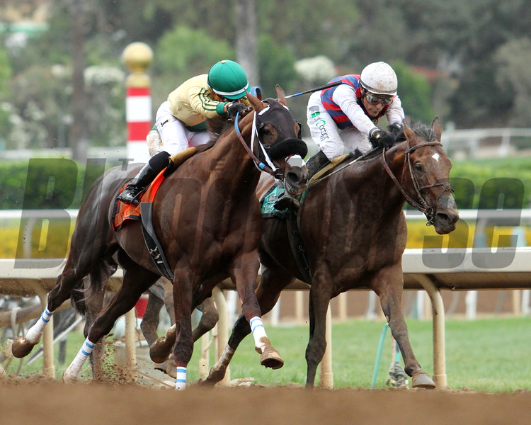 BIG CAZANOVA (ARG) ridden by Corey Nakatani duels CATCH A FLIGHT (ARG) with Gary Stevens in the G1 Gold Cup at Santa Anita 06.27.15. Photo by Helen Solomon