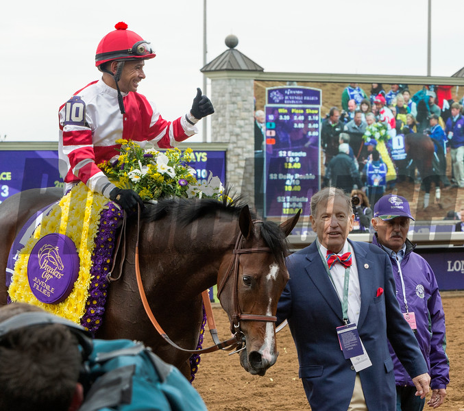 Songbird and jockey Mike Smith win the Breeders' Cup Juvenile Fillies at Keeneland on October 31, 2015. <br /> Photo By: Anne M. Eberhardt