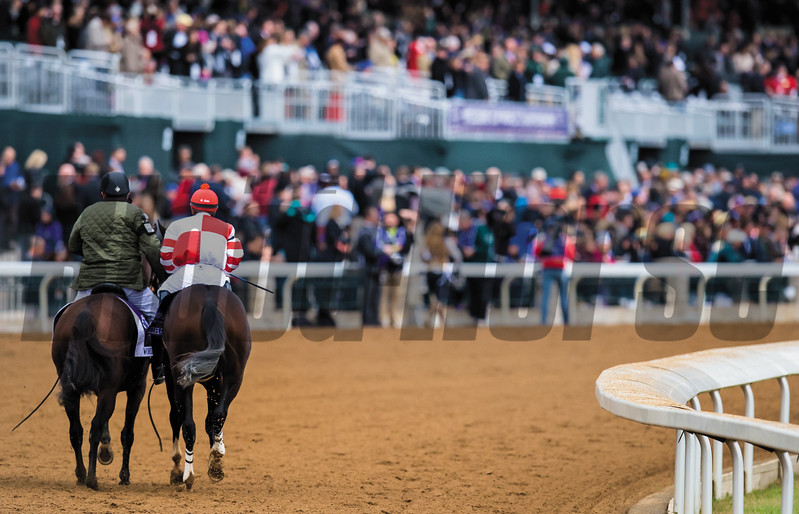 Caption: Songbird with jockey Mike Smith wins<br /> 14 Hands Winery Juvenile Fillies at Keeneland for Breeders' Cup on Oct. 31, 2015.
