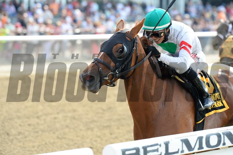 Sheriffa wins the  Critical Eye Stakes on New York Bred Stakes day May 25, 2015.<br /> Coglianese Photos/Joe Labozzetta