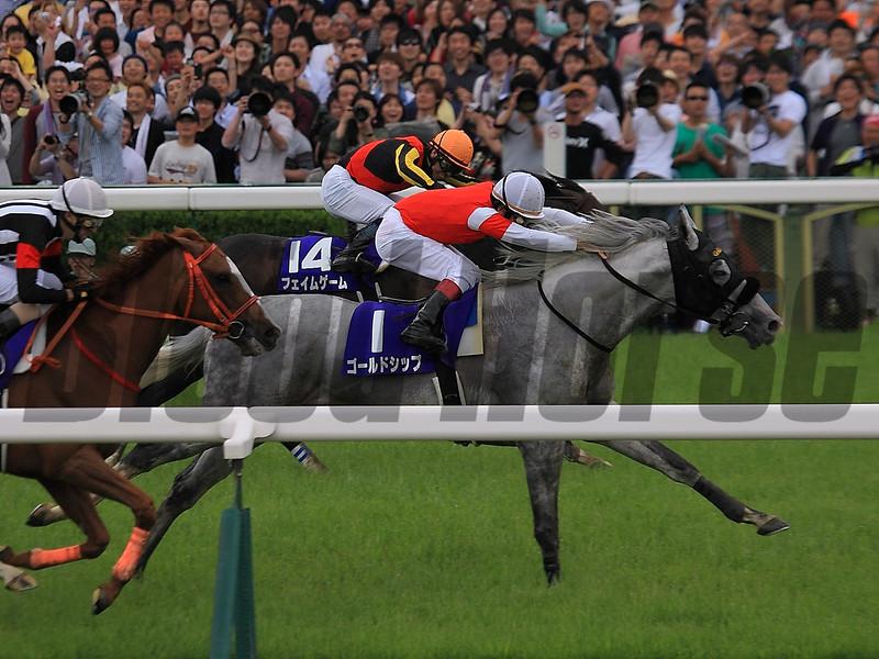 Gold Ship wins the 2015 Tenno Sho May 3.<br /> Naoji Inada Photo