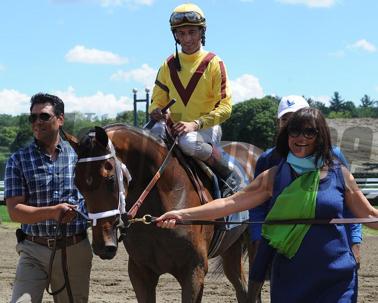 Rachel's Valentina wins race 2 at Saratoga August 2, 2015.<br /> Coglianese Photos