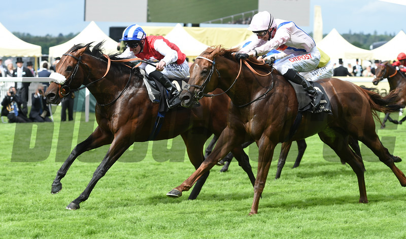 Profitable, with jockey Adam Kirby, wins the King's Stand Stakes at Royal Ascot June 14, 2016.<br /> Mathea Kelley Photo