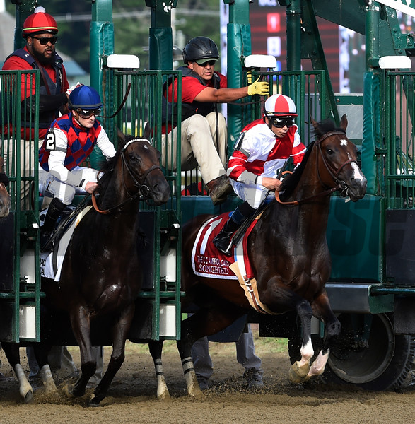 Songbird with jockey Mike Smith breaks from the gate next to Carina Mia with jockey Julien Leparoux in the 100th running of The Coaching Club American Oaks Sunday July 24 2016 at the Saratoga Race Course in Saratoga Springs, N.Y. (Skip Dickstein