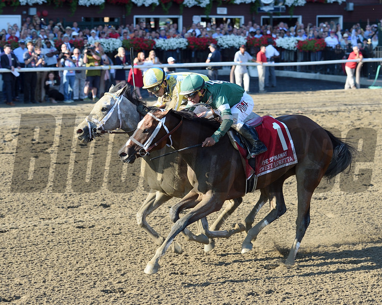 Sweet Loretta (#1) and Pretty City Dancer dead heat in the 2016 Spinaway Stakes.<br /> Coglianese Photos/Chelsea Durand