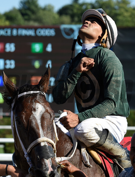 55-1 long shot Paola Queen with jockey Luis Saez wins the 91st running of The Test stakes Saturday August 6, 2016 at the Saratoga Race Course in Saratoga Springs, N.Y. .  Photo by Skip Dickstein