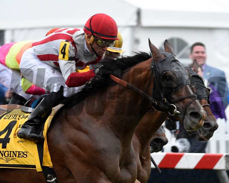 Target Takeover with jockey Joel Rosario wins the 115th running of THE LONGINES DIXIE STAKES Grade II at Pimlico Race Course in Baltimore, MD.  Photo by Skip Dickstein
