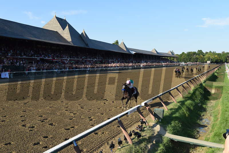 Arrogate wins the 2016 Travers Stakes.<br /> Coglianese Photos/Jamie Coulter