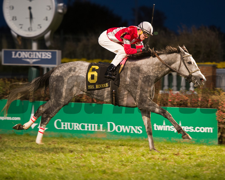 Caption:<br /> Linda with Brian Hernandez Jr. wins the Mrs. Revere (gr. II) for Whitham Thoroughbreds and Ian Wilkes on Nov. 25, 2016, at Churchill Downs.