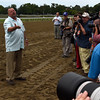 Trainer Eric Guillot holds court after Laoban won the 53rd running of the Jim Dandy at Saratoga 7/30/16.  Photo by Skip Dickstein