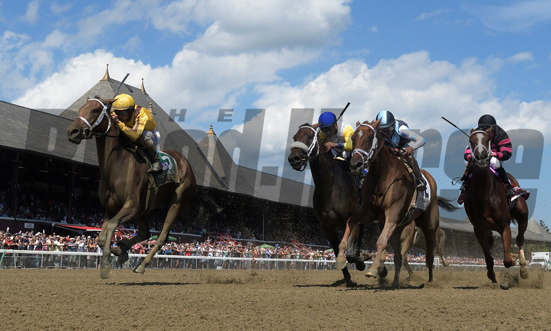 Cavorting with Javier Castellano up wins the 69th running of the Personal Ensign at Saratoga Race Course August 27, 2016 in Saratoga Springs, N.Y.  Photo by Skip Dickstein