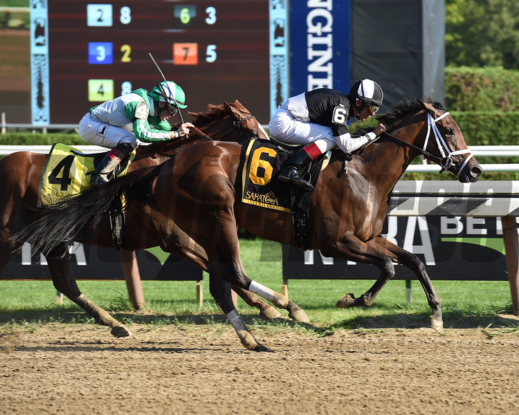 Iron Mizz wins the 2016 Seeking the Ante Stakes.<br /> Coglianese Photos