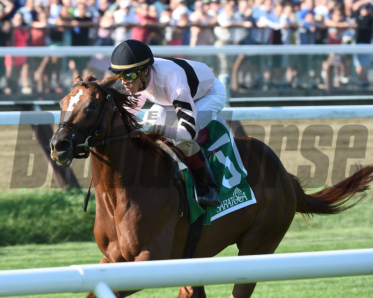 Ancient Secret wins the 2016 Lake George Stakes.<br /> Coglianese Photos/Adam Mooshian