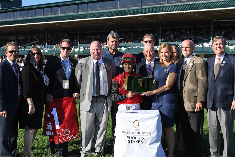 A.P. Indian with Joe Bravo wins Phoenix (gr. II) at Keeneland on , Friday Oct. 7, 2016  in Lexington, Ky. Photo by Anne M. Eberhardt