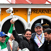 Exaggerator with jockey Kent Desormeaux wins the 141st runnoing of the Preakness Stakes.  Photo by Skip Dickstein<br /> left to right:  Kent Desormeaux, Keith Desormeaux, Matt Bryan, Big Chief Racing and Sol Kumin, Head of Plains Racing.