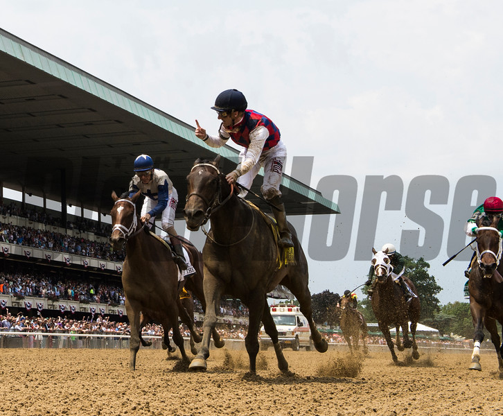 Carina Mia with jockey Julien Leparoux wins the 86th running of The Acorn at Belmont Park June 11, 2016 in Elmont, N.Y.  Photo by Skip Dickstein