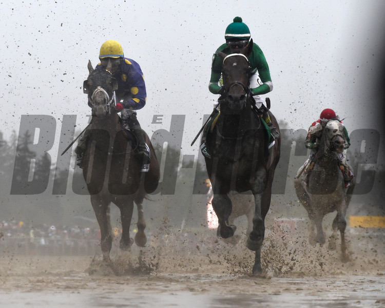 FIRST TIME BY CLUBHOUSE Exaggerator with jockey Kent Desormeaux wins the 141st runnoing of the Preakness Stakes.  Photo by Skip Dickstein