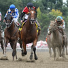 A.P. Indian with jockey Joe Bravo in the saddle wins the 32nd running of The Alfred G. Vanderbilt at Saratoga 7/30/16.  Photo by Skip Dickstein