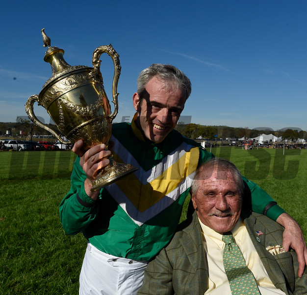 Rawnaq, owner Irvin S. Naylor shares the excitement of what win with  jockey Ruby Walsh after winnings the $350,000 Grand National at Far Hills Race Meeting in Far Hills, N.J. Oct 15, 2016.  Photo by Skip Dickstein