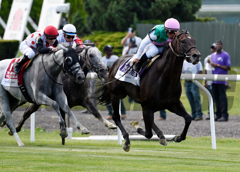 Flintshire with jockey Javier Castellano up wins the115th running of The Woodford Reserve at Belmont Park june 11, 2106 in Elmont, N.Y.  Photo by Skip Dickstein