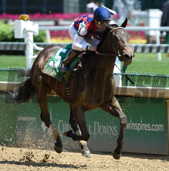 Carina Mia with jockey Julien Leparoux in the irons wins the 61st running of The Eight Belles May 6, 2016 at Churchill Downs in Louisville, KY.  Photo by Skip Dickstein