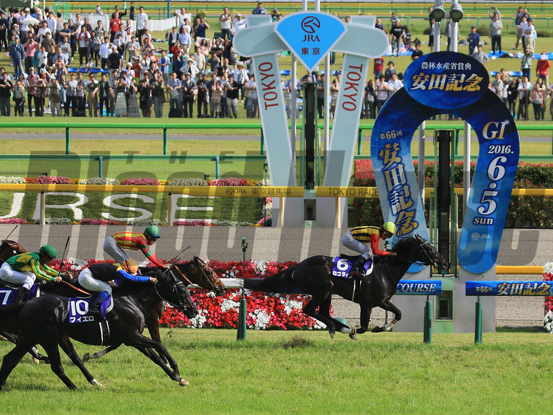 Logotype wins the Yasuda Kinen in Japan June 5, 2016.<br /> Naoji Inada Photo