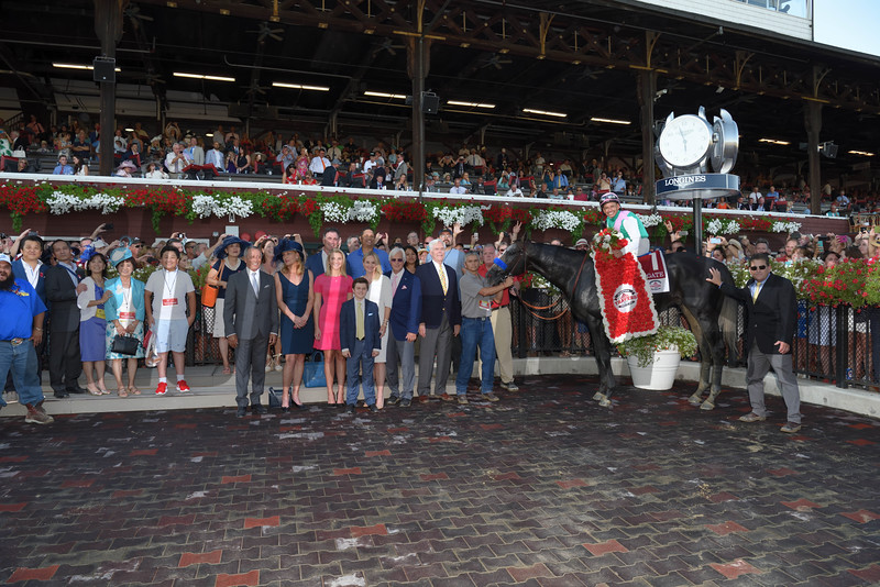 Arrogate wins the 2016 Travers Stakes.<br /> Coglianese Photos