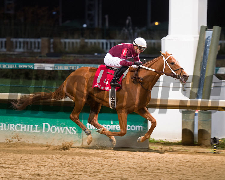 Caption:<br /> Gun Runner with Florent Geroux wins Clark Handicap (gr. I) on Nov. 25, 2016, at Churchill Downs.<br /> Anne M. Eberhardt Photo
